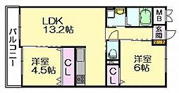 福岡県糟屋郡志免町南里3丁目の賃貸マンションの間取り