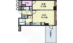 阪神本線 野田駅 徒歩1分の賃貸マンション 8階1LDKの間取り