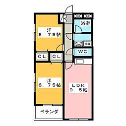 ベリーナ高瀬B棟[1階]の間取り