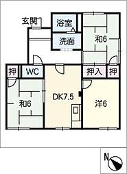 タウニー東栄[1階]の間取り