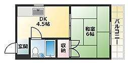 大阪府大阪市平野区平野西4丁目の賃貸マンションの間取り