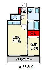 サンディエゴ永野IV 4階1LDKの間取り