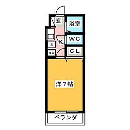 シャトー天神弐番館 3階1Kの間取り