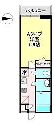メゾンドモエ塚口 3階1Kの間取り