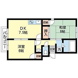 新潟県新潟市中央区女池西1丁目の賃貸アパートの間取り