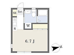 オリーブハイムA棟 1階ワンルームの間取り