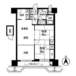 ライオンズマンション金剛院第二 12階3LDKの間取り