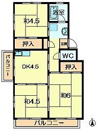 奈良県奈良市中登美ヶ丘1丁目の賃貸マンションの間取り