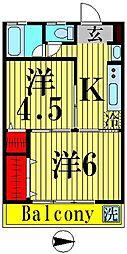 竹ノ塚グリーンハイツ[202号室]の間取り