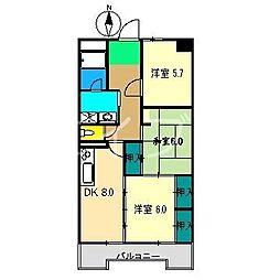 山本ハイツ[3階]の間取り