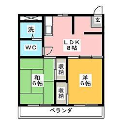 コーポ静岡[9階]の間取り