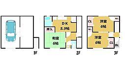 [テラスハウス] 大阪府大東市灰塚5丁目 の賃貸【大阪府 / 大東市】の間取り