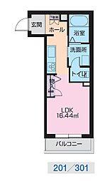 JR奥羽本線 山形駅 幸町下車 徒歩1分の賃貸マンション 3階ワンルームの間取り