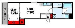 JR鹿児島本線 福工大前駅 徒歩7分の賃貸アパート 2階1LDKの間取り