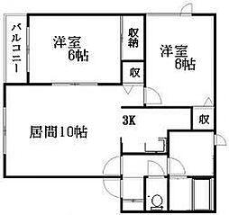 北海道札幌市清田区清田六条3丁目の賃貸マンションの間取り