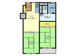 JR大阪環状線 森ノ宮駅 徒歩10分の賃貸マンション 10階2DKの間取り