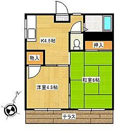 コーポS[1階]の間取り