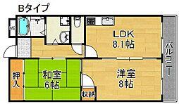 サンディグノ帝塚山[4階]の間取り