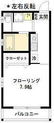 新築本町4丁目 2階1Kの間取り