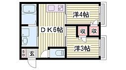 山陽電鉄本線 西二見駅 徒歩15分の賃貸アパート 1階ワンルームの間取り