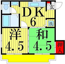 横山コーポ[201号室]の間取り