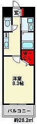ギャラン竪町Neo 7階1Kの間取り