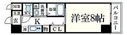 阪神本線 魚崎駅 徒歩4分の賃貸マンション 1階1Kの間取り