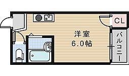 セラ天王寺A[215号室]の間取り