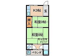 京都府京都市伏見区醍醐御霊ケ下町の賃貸アパートの間取り