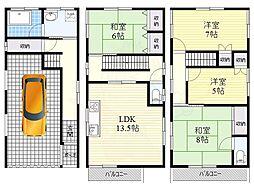 京阪本線 樟葉駅 徒歩23分の賃貸一戸建て 2階4LDKの間取り