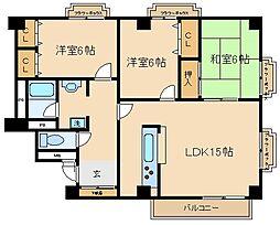 兵庫県神戸市須磨区月見山町2丁目の賃貸マンションの間取り