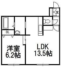 北海道札幌市南区澄川二条3の賃貸アパートの間取り