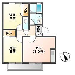 長野県長野市大字西尾張部の賃貸アパートの間取り