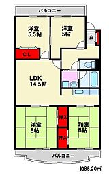 日商岩井リバーサイドマンション[A棟304号室]の間取り