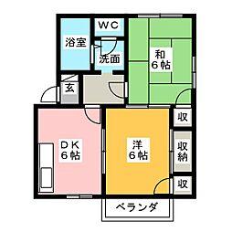 ロイヤルイースト[2階]の間取り