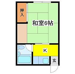 TKハイツ[2B号室]の間取り