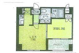 リブレ東新宿 13階1LDKの間取り