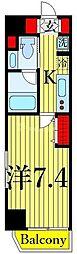 One ROOF Residence Kiba WEST 2階1Kの間取り