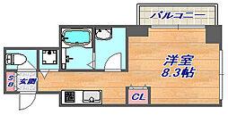 Vista Grande東灘 3階ワンルームの間取り