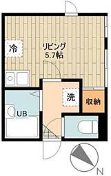 S casa 2階ワンルームの間取り