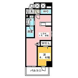 ベルオレイル 5階1LDKの間取り