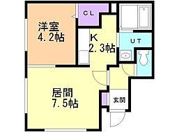 glife nishimachi 4階1LDKの間取り