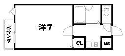 京都府京都市山科区安朱馬場ノ西町の賃貸マンションの間取り