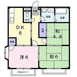 栃木県下野市緑5丁目の賃貸アパートの間取り