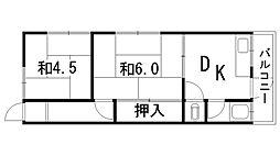 赤坂荘[202号室]の間取り