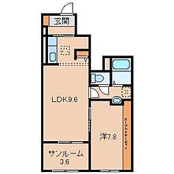 和歌山県岩出市山の賃貸アパートの間取り