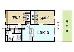 奈良県奈良市四条大路4丁目の賃貸マンションの間取り