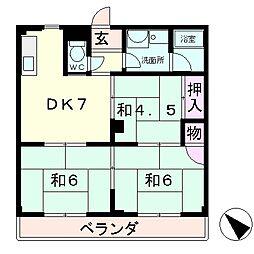 滋賀県栗東市小柿7丁目の賃貸マンションの間取り