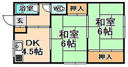 兵庫県伊丹市岩屋1丁目の賃貸アパートの間取り