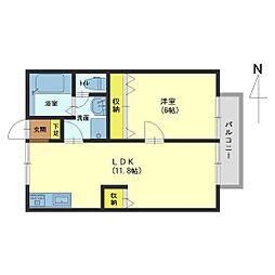 レジデンス青樹B[105号室]の間取り